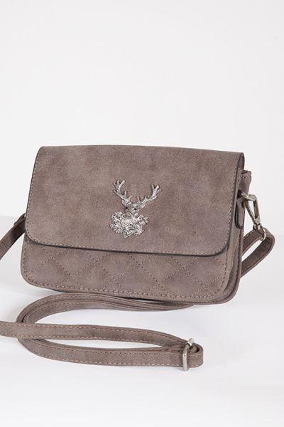 Trachtentasche mit Hirsch in taupe / braun zum umhängen