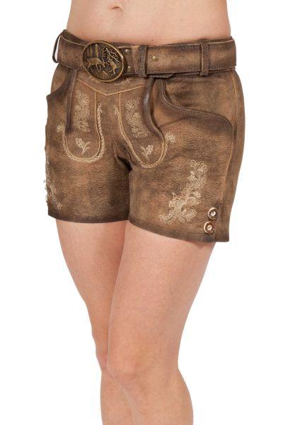 Kurze Damen Lederhose in mittelbraun used