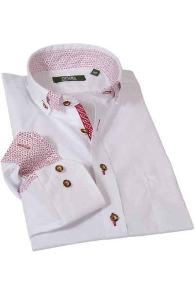 Trachtenhemd in rein weiß mit rotem Muster von arido