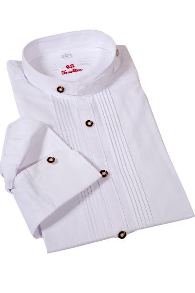 Trachtenhemd weiß Slim Fit mit Biesen und Stehkragen