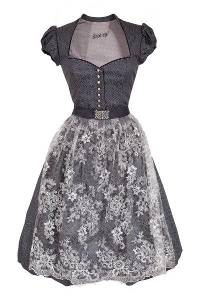 Mini Dirndl Emilia in grau mit Ärmeln und Spitzenschürze