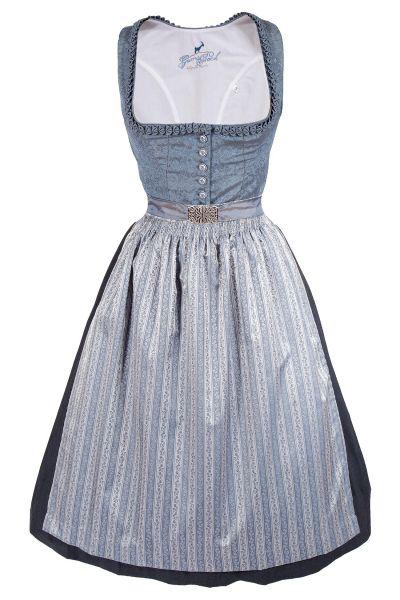 Midi Dirndl Kerstin in graublau und silber elegant