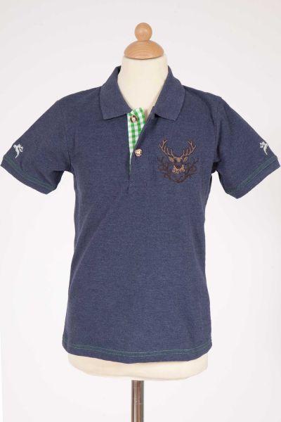 Kinder Trachten Poloshirt in dunkelblau