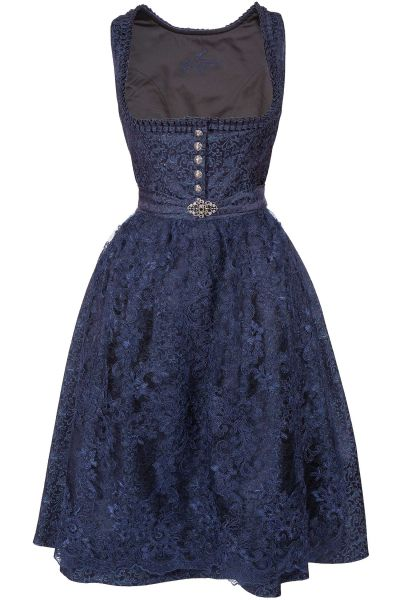 Midi Dirndl Kerstin in dunkelblau mit Spitzenschürze