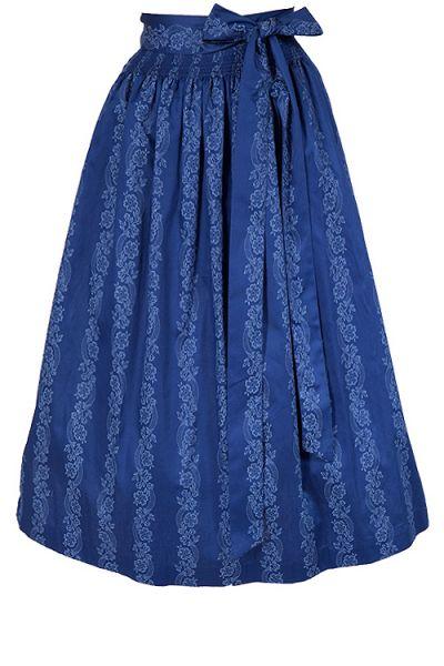 Dirndlschürze midi aus Baumwolle in königsblau 70 cm