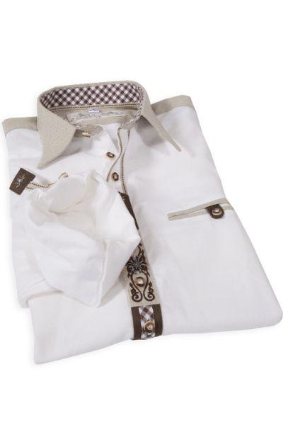 Trachtenhemd Edelweiss weiß mit Leinenkragen und Tasche