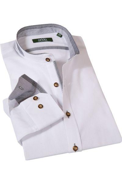Trachtenhemd in weiß mit grauen Details