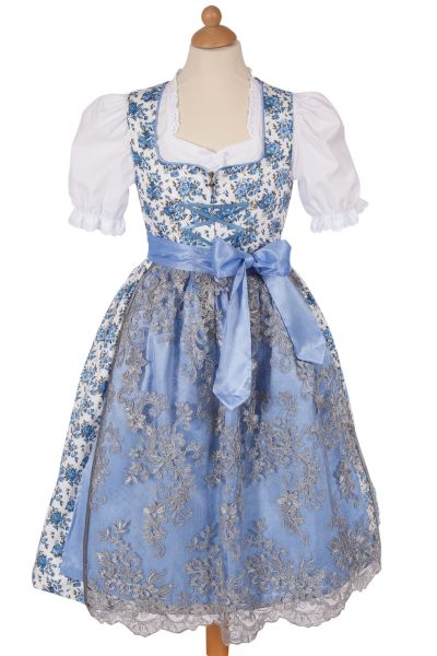 Kinderdirndl Marie aus Baumwolle in weiß und blau