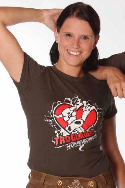 Trachten T-Shirt für Damen in braun