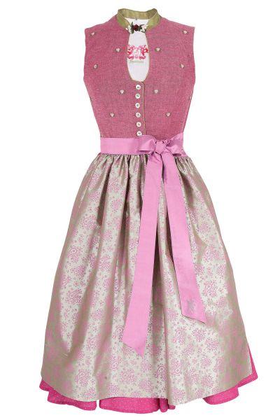 traditionelles Designer Dirndl in pink aus Leinen und Seide