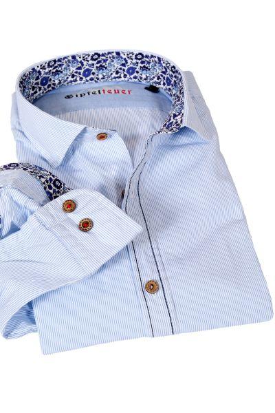 Trachtenhemd weiß hellblau gestreift