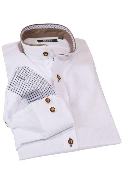 Herren Trachtenhemd edel in weiß mit Velours