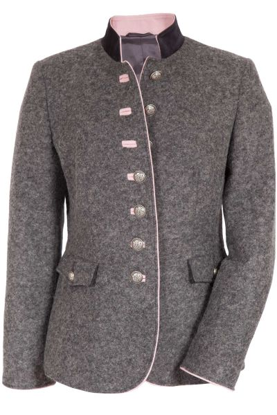 Damen Trachtenjanker aus Loden in grau mit rosa