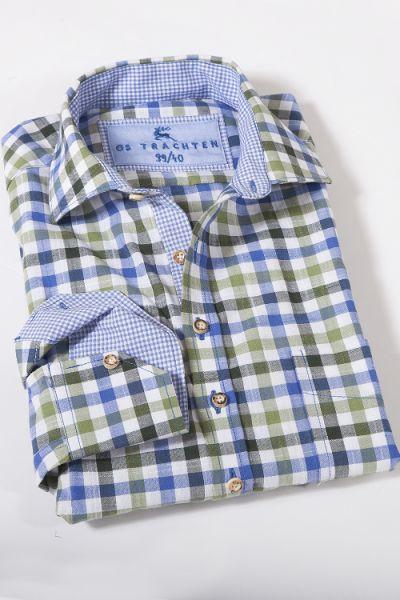 Trachtenhemd aus luftiger Baumwolle kariert in grün blau 1