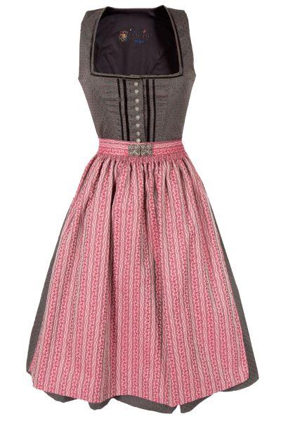 Midi Dirndl Lena in grau und beere im Vintage Style
