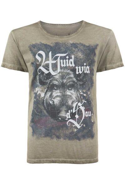 Trachten T-Shirt Herren in sand Wuidsau