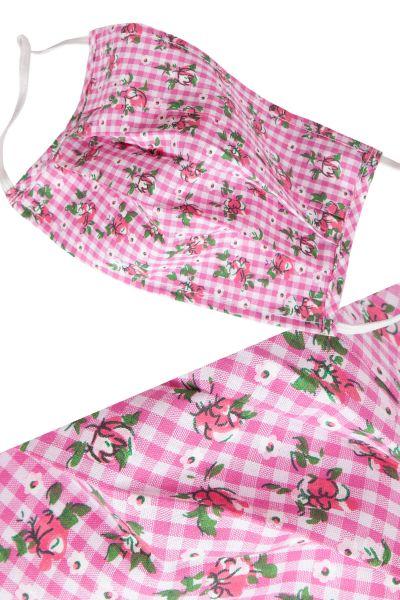 Trachten Gesichtsmaske in pink kariert mit Rosen und Gummi
