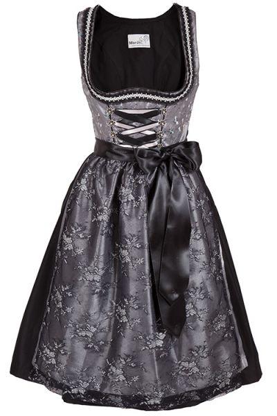 Midi Dirndl Francesca in silber und schwarz