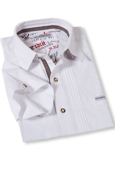 Trachtenhemd Kurzarm weiß mit Biesen von Stockerpoint