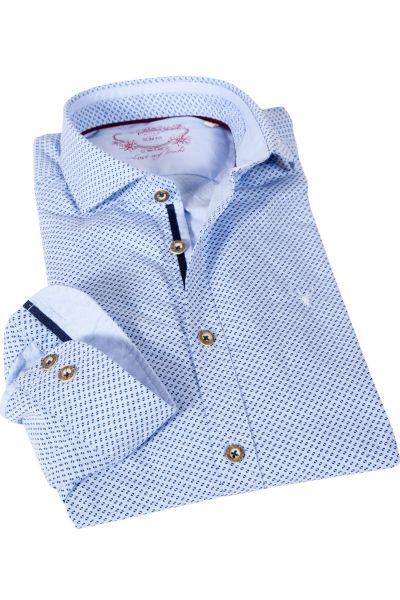 Trachtenhemd in hellblau mit Retro Muster