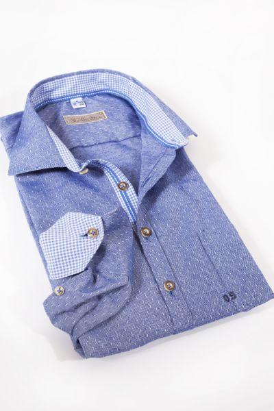 Trachtenhemd in blau mit Strukturwebung von OS Trachten