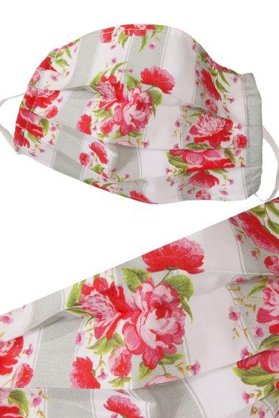 Trachten Mund-Nase-Maske rosa Blumen aus Baumwolle mit Gummi