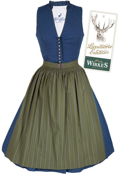 Midi Dirndl Rea aus Baumwolle in blau und grün Limited Edition