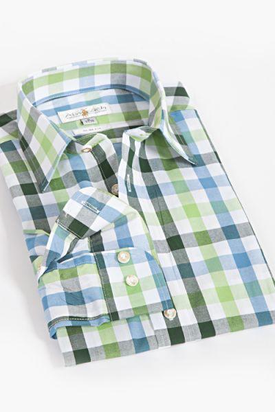 Trachtenhemd Slim fit grün blau türkis  weiß kariert 1