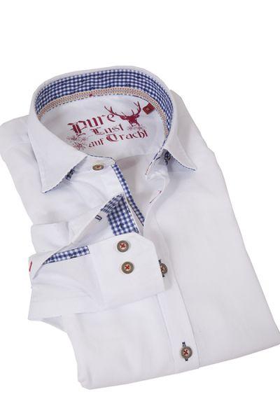 Klassisches Trachtenhemd in weiß von Pure mit blauen und roten Details