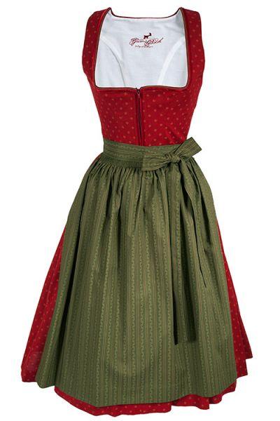 Rotes Dirndl Emiliy aus Baumwolle mit grüner Schürze