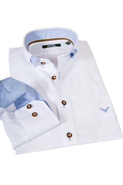 Trachtenhemd von arido in weiß mit hellblauen Details