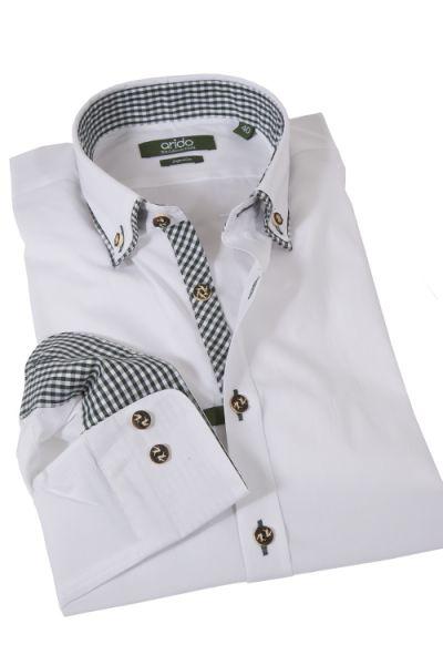 Edles weißes Trachtenhemd von arido mit Vichykaro in grün