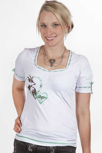 Trachten shirt in weiß und grün mit herz und Hirsch