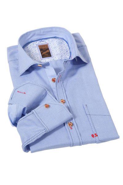 Trachtenhemd modern mit Muster in blau