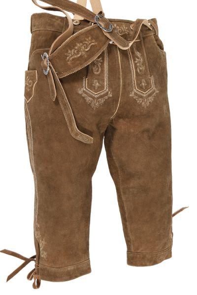 Kniebund Lederhose in braun mit Träger von Stockerpoint