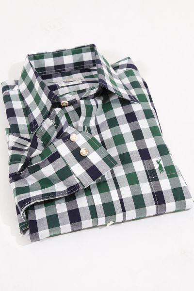Trachtenhemd heinrich kariert grün & blau von Almsach