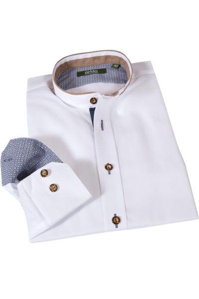 arido Trachtenhemd weiß & marine mit Velourskragen
