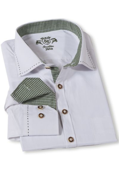 Trachtenhemd von Orbis in weiß mit Dunkelgrün - günstig