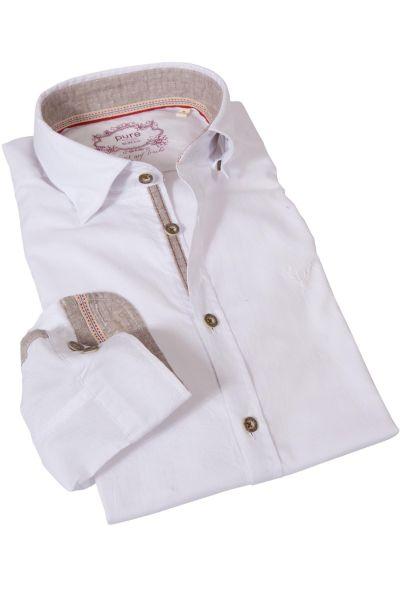 Trachtenhemd in weiß mit Belägen in natur von pure