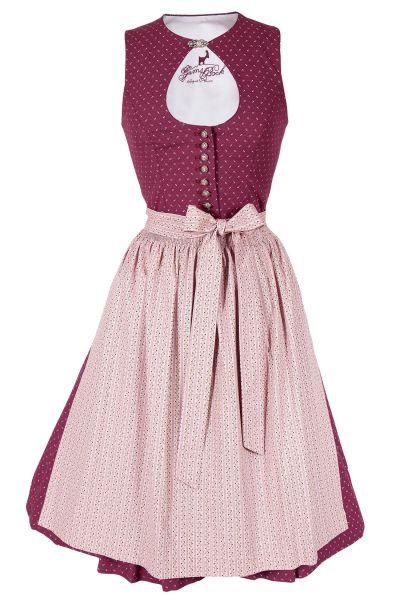 Midi Dirndl Olivia in bordeaux und rosa mit O-Ausschnitt