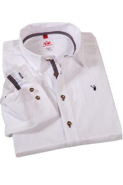 edles Trachtenhemd in weiß aus Baumwolljaquard