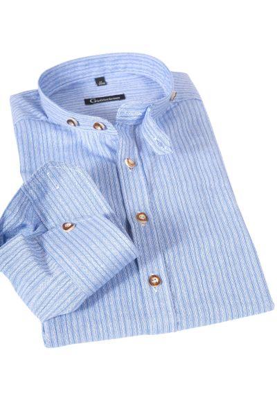 Herren Trachtenhemd wasserblau mit weiß