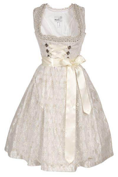 Zauberhaftes Midi Dirndl in creme als Hochzeitsdirndl mit Perlen