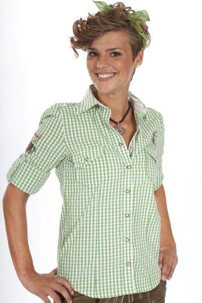 Trachtenhemd Alpenmaid grün kariert 1