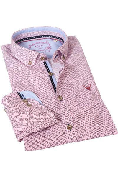 Trachtenhemd mit Retro Muster in rot von pure