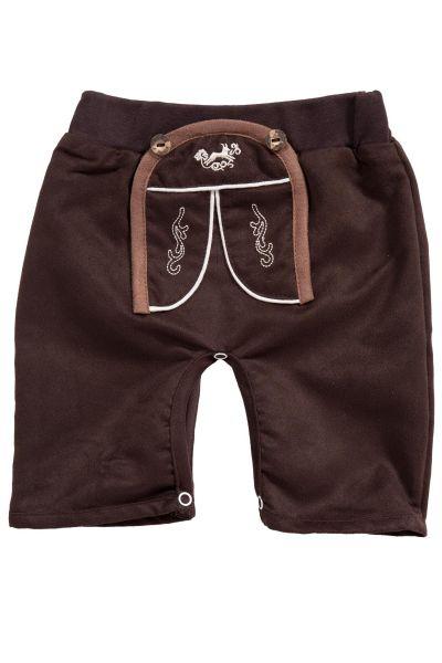 Baby Strampelhose in braun im Lederhosen Look