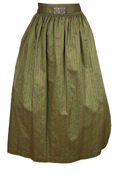 Lange Dirndlschürze aus Baumwolle in olivgrün