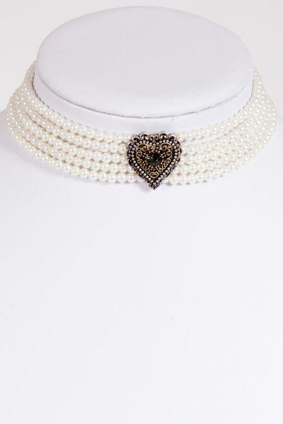 Perlen Kropfband weiß als Trachtenkette