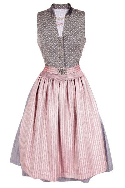 Midi Dirndl traditionell in silbergrau und rosa