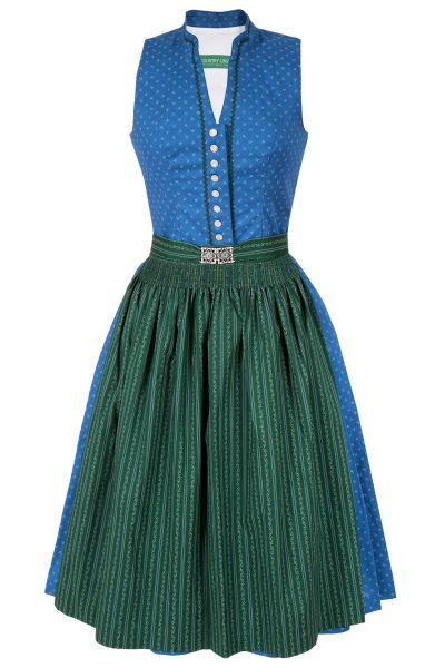 Midi Dirndl traditionell in blau und dunkelgrün
